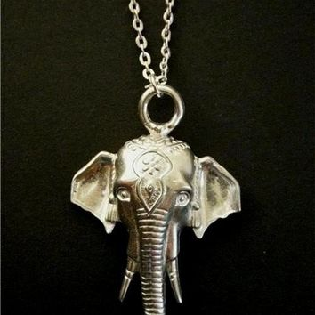 Antiqued Silver Indian Elephant Pewter Charm Necklace