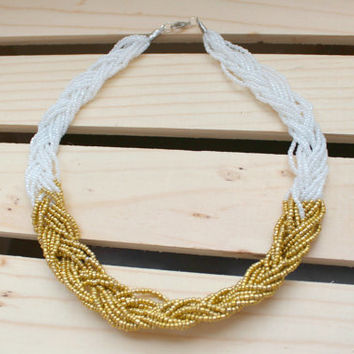 White and Gold Braided Seed Bead Necklace.  Seed Bead Necklace.  Statement Necklace.  Gifts for her. Multistrand Necklace.  Beaded Necklace