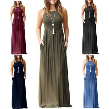 Sleeveless Fashion Women Summer Long Halter Long Strapless Dress Casual Beach Maxi Dress