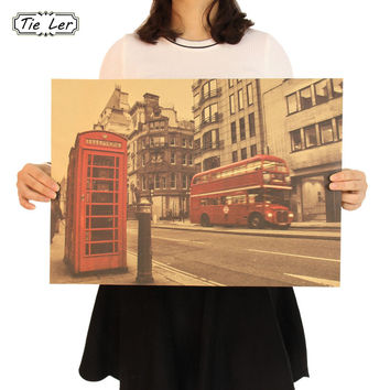 London Red Buse and Telephone Booth Kraft Paper Wall Sticker Cafe Bar Decorated Home Decor Vintage Paper Poster 51.5X36cm
