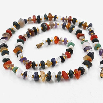 Vintage Gold & Multi-Gemstone Nugget Necklace, Multi-Color, Semi-Precious, Tumbled Stone, Brass Beads, 30 Inches, Chunky, Fab! #c445
