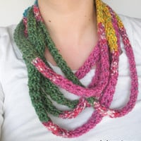 Spring Bouquet Infinity Wrap Scarf,  tube scarf, extra long rope scarf, ready to ship.
