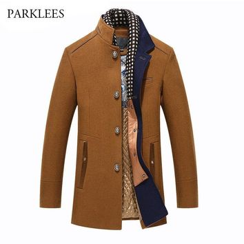 Winter Wool Coat Men 2017 Fashion New Stand Collar Trench Coat Brand Slim Fit Mens Cashmere Coat Casual Classical Manteau Homme
