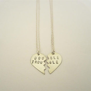 DOUBLE TROUBLE necklaces, hand-stamped, nickel silver, bff, broken heart friendship necklaces