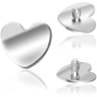 Grade 23 Titanium Heart Dermal Top | Body Candy Body Jewelry