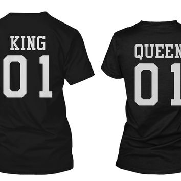 King 01 and Queen 01 Back Print Couple Matching T-Shirts Valentine's Day Gifts Ideas