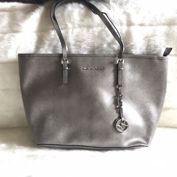 Michael Kors Jet Set Travel Saffiano Silver Leather Tote Bag