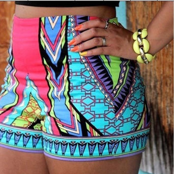 New Women Girl Fashion National Floral Print Summer Beach Shorts Hot Pants = 1946905668