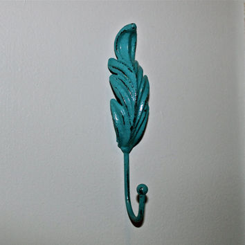Turquoise Wall Hook/ Cast Iron/ Shabby Chic by AquaXpressions