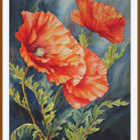 Poppies - Counted cross stitch pattern in PDF format