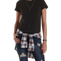 Black Crew Neck Tunic Tee by Charlotte Russe