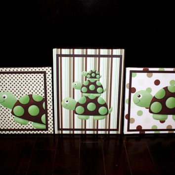 Set of 3 Mod Turtle Baby Boy Nursery Art on Stretched CANVAS 3CS025