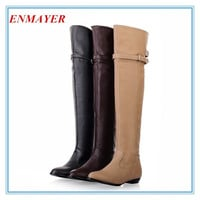ENMAYER new 2014 over the knee high boots women motorcycle boots Flats long boots low heel leather shoes big size 34-43 = 1945897028