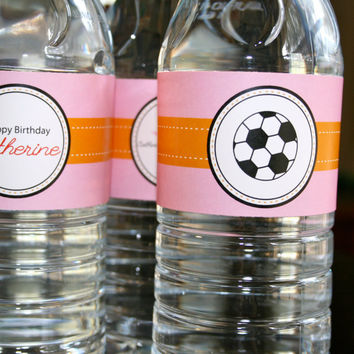 Soccer Star Birthday- water bottle wrappers- print your own
