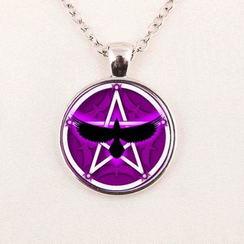 Claudia Crow Pentagram Pendant Necklace Art picture necklaces Occult Jewelry glass dome necklace christmas gift for women men