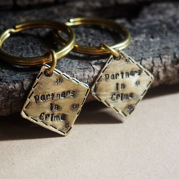Partners in crime keychain, couples keychain, couples matching keychain, matching keychain, hand stamped keychain, square keychain brass