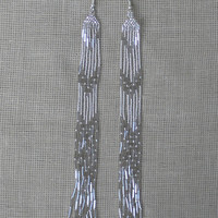 Silver Earrings. Extra Long Earrings. Shoulder DusterEarrings. Beadwork