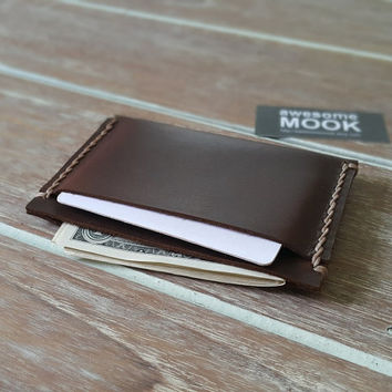 Leather Wallet Brown, CRAZY HORSE, Personalized Minimalist, Custom wallet