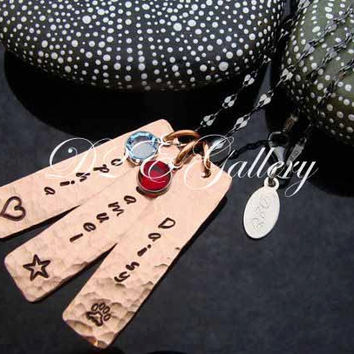 D2E hand stamped Copper mothers charm necklace with birthstones on black rhodium chain