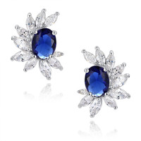 Blue Oval and Clear Marquise Cubic Zirconia Stud Earrings