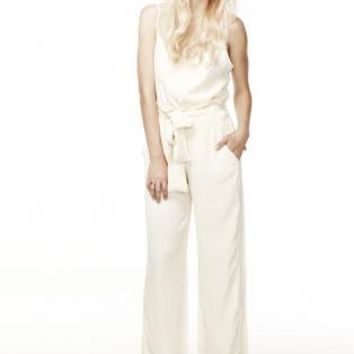 Satin Cream Block Print Pants with Tie Sash Waist