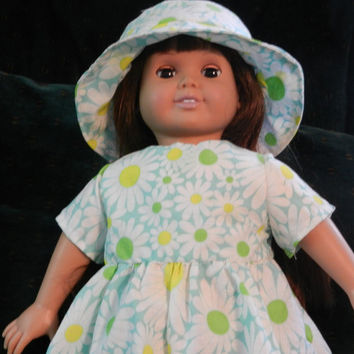 Daisy Dress and Hat Fits American Girl, FAO Swartz, Journey Girls, Our Generation, Madam Alexander and other 18 inch dolls