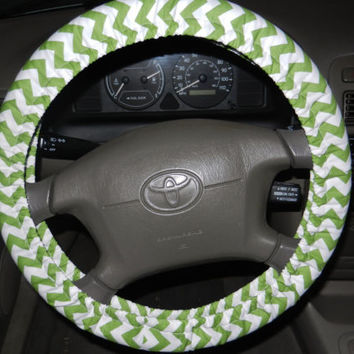Green and White Chevron Steering Wheel Cover
