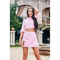 Eyelet Envy Two Piece Set (Pink)