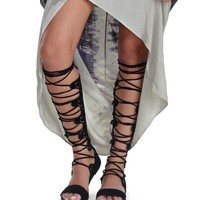 Black Tall Gladiator Sandals