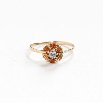 Antique 10k Yellow Gold Buttercup Flower Diamond Ring - Vintage 1910s 1920s Stick Pin