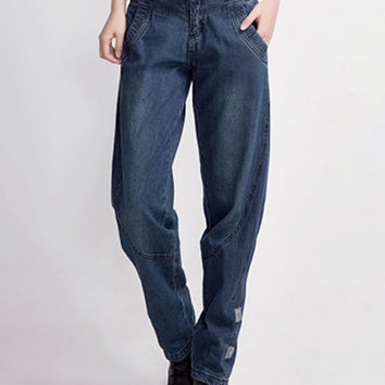 Blue Loose Washed Jeans
