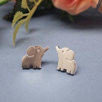"""Baby """"Elephant"""" Post Earring silver/ gold"""
