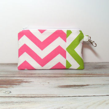 Small Handbag Clutch - Chevron Clutch Bag - Cell Phone Clutch - Pink and Green - Teen Clutch Bag - Girls Party Favors - Purse Accessory