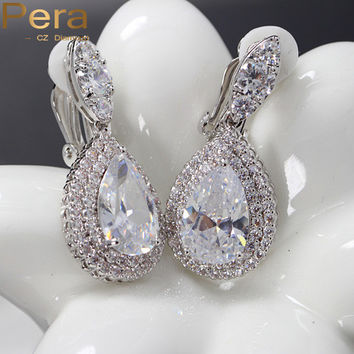 Pera Big Dangle Drop Cubic Zirconia Stone Women Clip on Earrings Without Piercing Jewelry For Non Pierced Ears E100