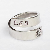 Leo - Personalized Zodiac Ring - Personalized Ring - Custom Ring - Handstamped Ring - Astrology Ring -Adjustable Ring - Astrological Gift