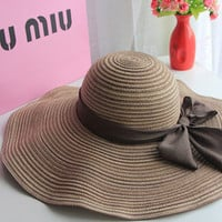 Fashion sun hats Summer Cotton sun visor hat  Beach hat for women ladies Large brim hat With Ribbons