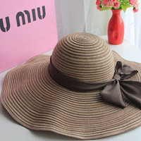 HOT 2016 New Fashion sun hats Summer Cotton sun visor hat  Beach hat for women ladies Large brim hat With Ribbons free shipping