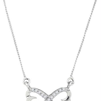 Sterling Silver Women's Round Diamond Infinity Double Heart Pendant Necklace 1-5 Cttw - FREE Shipping (US/CAN)