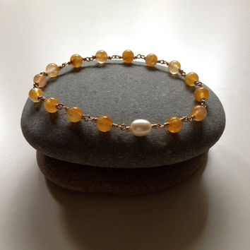 Yellow Jade & Freshwater Accent Pearl Bangle Bracelet ,  Jade Bracelet, Bangle Bracelet, Pearl Bracelet