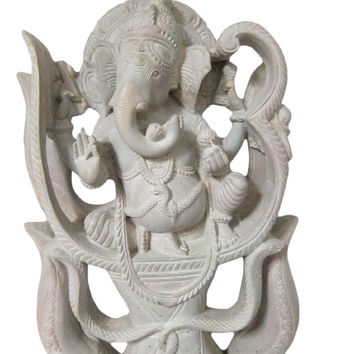 Hindu Ganesh Statue Good Luck OM Ganesha Sculpture Yoga Room Decor 10 Inches