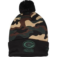 Men's Green Bay Packers New Era Green Camo Top Knit Hat