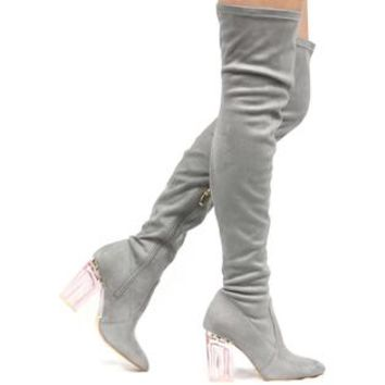 CAPE ROBBIN Fay-2 Thigh High Over Knee Lucite Clear Block Chunky Heel Boot Gray
