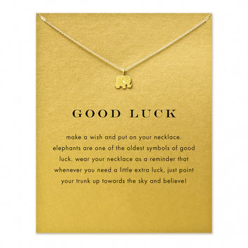 14K Gold & Silver Plated Good Luck Elephant Necklace