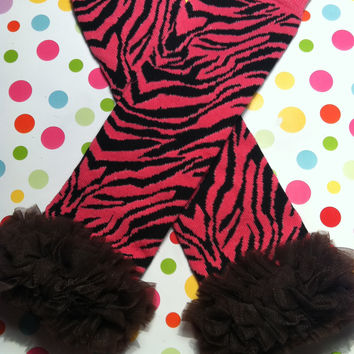 Baby Girls Hot Pink & Black Zebra Striped Leg Warmers with Brown Chiffon DIY