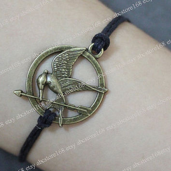 Hunger Games Bracelet-Mockingjay Bracelet Adjustable Black Leather Bracelet