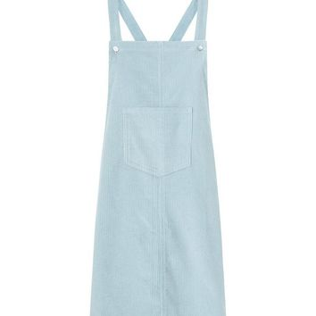 Mint Green Corduroy Pocket Front Pinafore Dress | New Look