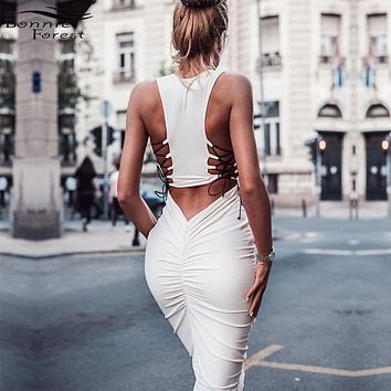 Bonnie Forest Stylish Womens Lace up Back Ruched Bodycon Sleeveless Midi Dress Holiday Vacation Dress Femme Robe Club Wear