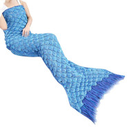 JY 13 Mosunx Business 2016 Hot Selling  Knitted Mermaid Tail Blanket Handmade Crochet Adult Throw Bed Wrap Sleeping Bag Scarf