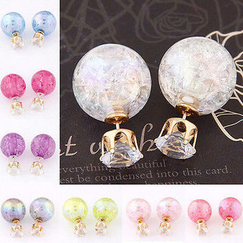 Women Candy Color Double Side Round Pearl Earrings Crystal Ball Ear Stud Hot  LS