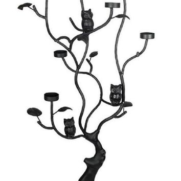 "45"" Black Halloween Twig Tree with Owls Tea Light Candle Holder"